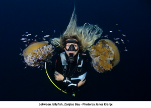 Ivana Orlović Kranjc between Jellyfish. Photo: Janez Kranjc