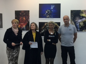 Vesna Mačić, Janne Knutrud, Ivana Orlović Kranjc, Janez Kranjc at teh exhibition opening
